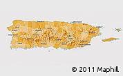 Political Shades 3D Map of Puerto Rico, cropped outside