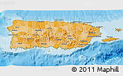 Political Shades 3D Map of Puerto Rico, satellite outside, bathymetry sea