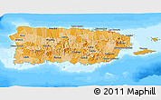 Political Shades 3D Map of Puerto Rico, semi-desaturated, land only