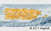 Political Shades 3D Map of Puerto Rico, semi-desaturated