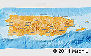 Political Shades 3D Map of Puerto Rico, shaded relief outside, bathymetry sea