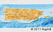 Political Shades 3D Map of Puerto Rico, single color outside