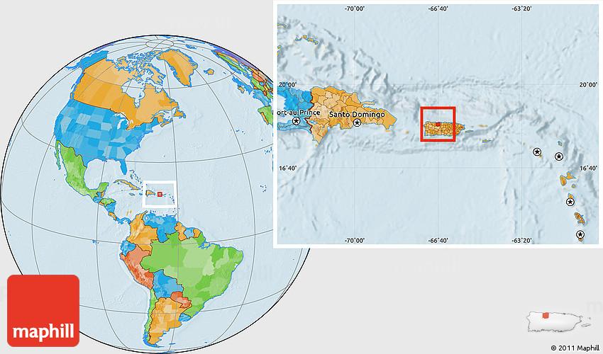 political location map of arecibo