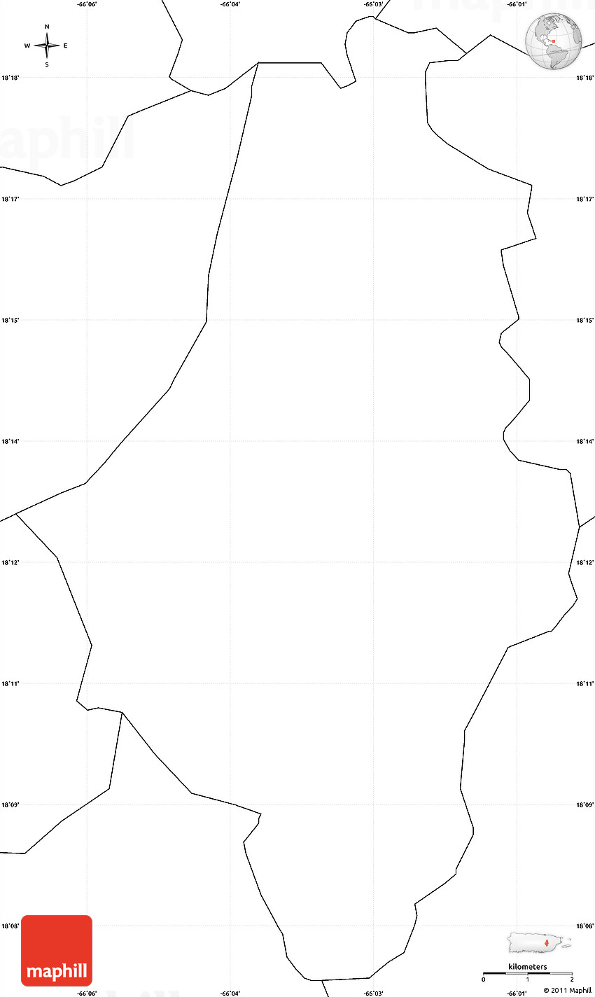 Blank Simple Map of Caguas on