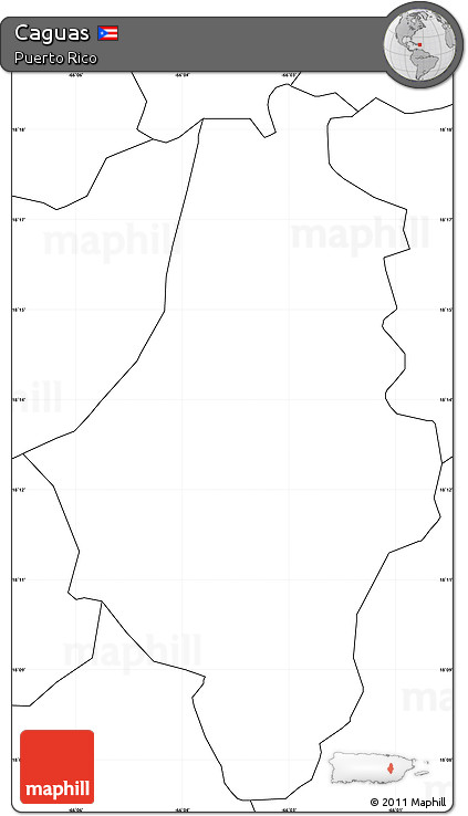 Free Blank Simple Map of Caguas, no labels on