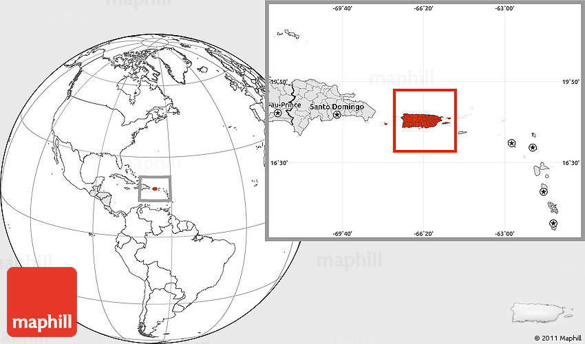 Blank Location Map Of Puerto Rico Highlighted Continent