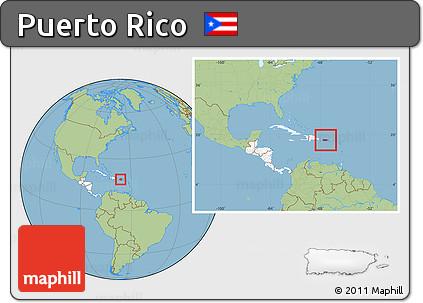 Free Savanna Style Location Map of Puerto Rico, highlighted ...