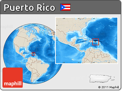 Free Shaded Relief Location Map of Puerto Rico, within the ...