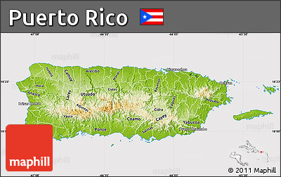 Free Physical Map of Puerto Rico cropped outside