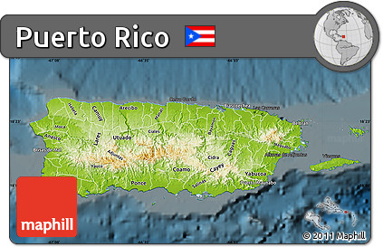Free Physical Map of Puerto Rico darken