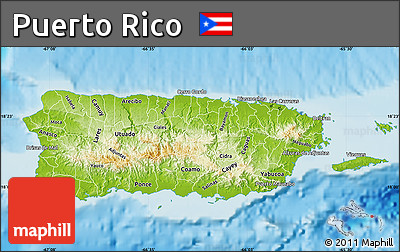 Free Physical Map of Puerto Rico