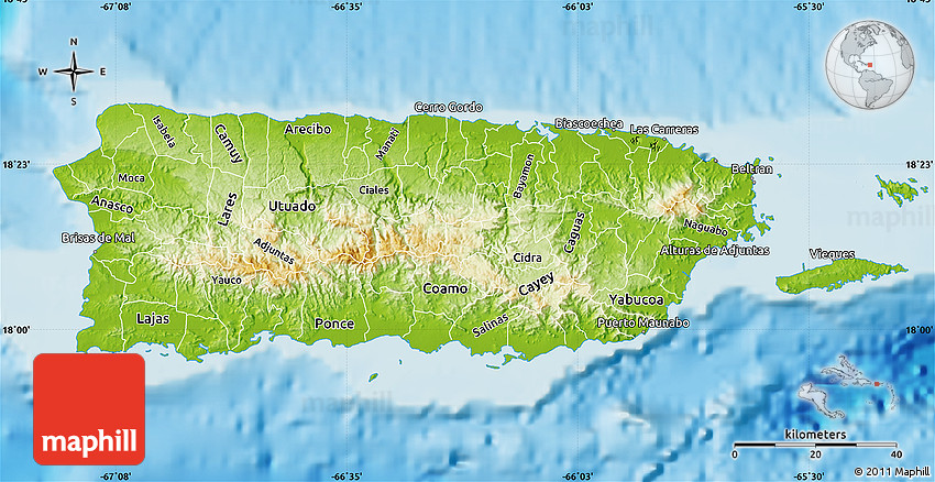 puerto rico geographical map Physical Map Of Puerto Rico puerto rico geographical map