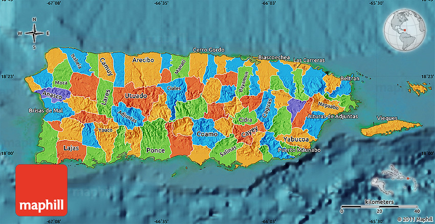 Political Map Of Puerto Rico Satellite Outside - Political map of puerto rico