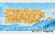 Political Shades Map of Puerto Rico, shaded relief outside, bathymetry sea