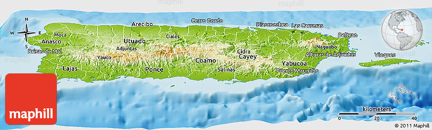 puerto rico geographical map Physical Panoramic Map Of Puerto Rico puerto rico geographical map