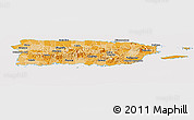 Political Shades Panoramic Map of Puerto Rico, cropped outside