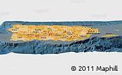Political Shades Panoramic Map of Puerto Rico, darken