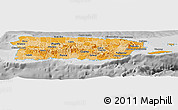 Political Shades Panoramic Map of Puerto Rico, desaturated