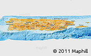 Political Shades Panoramic Map of Puerto Rico, physical outside