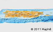 Political Shades Panoramic Map of Puerto Rico