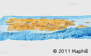 Political Shades Panoramic Map of Puerto Rico, satellite outside, bathymetry sea