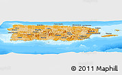 Political Shades Panoramic Map of Puerto Rico, semi-desaturated, land only