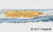 Political Shades Panoramic Map of Puerto Rico, semi-desaturated
