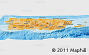 Political Shades Panoramic Map of Puerto Rico, shaded relief outside, bathymetry sea