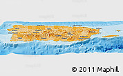 Political Shades Panoramic Map of Puerto Rico, single color outside