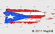 Flag Simple Map of Puerto Rico