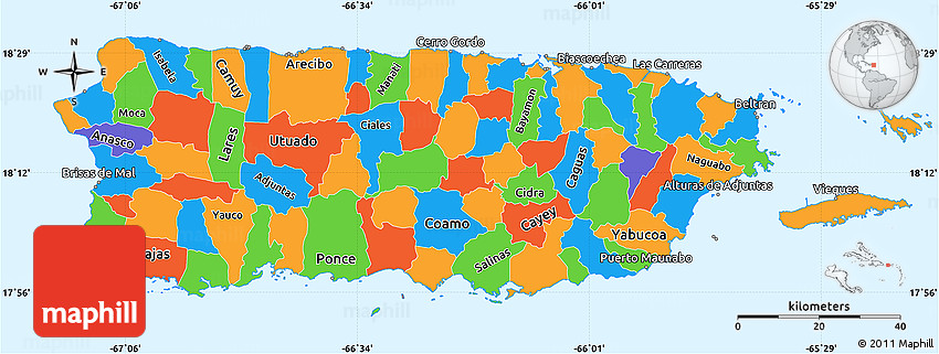 Political Simple Map Of Puerto Rico - Puerto rico maps
