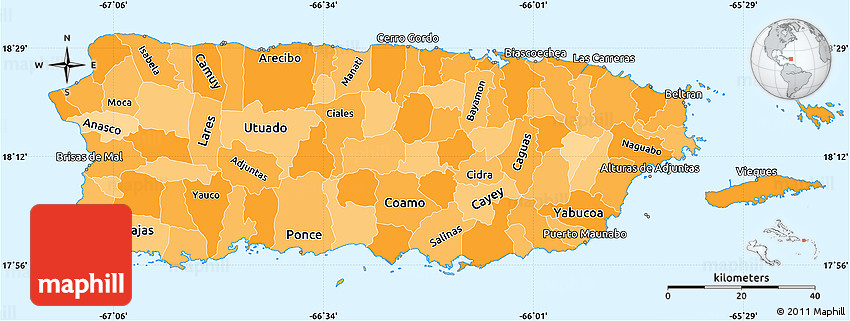 Political Shades Simple Map Of Puerto Rico - Political map of puerto rico