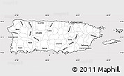 Silver Style Simple Map of Puerto Rico, cropped outside