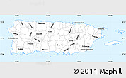 Silver Style Simple Map of Puerto Rico, single color outside