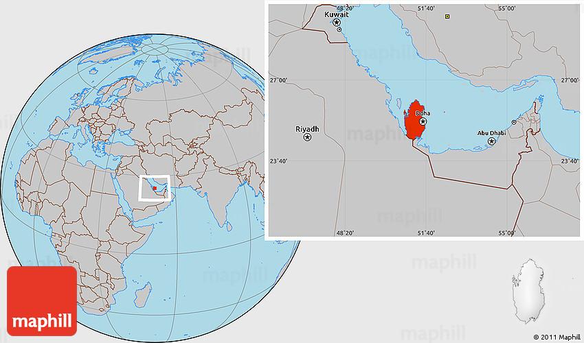 Gray Location Map of Qatar
