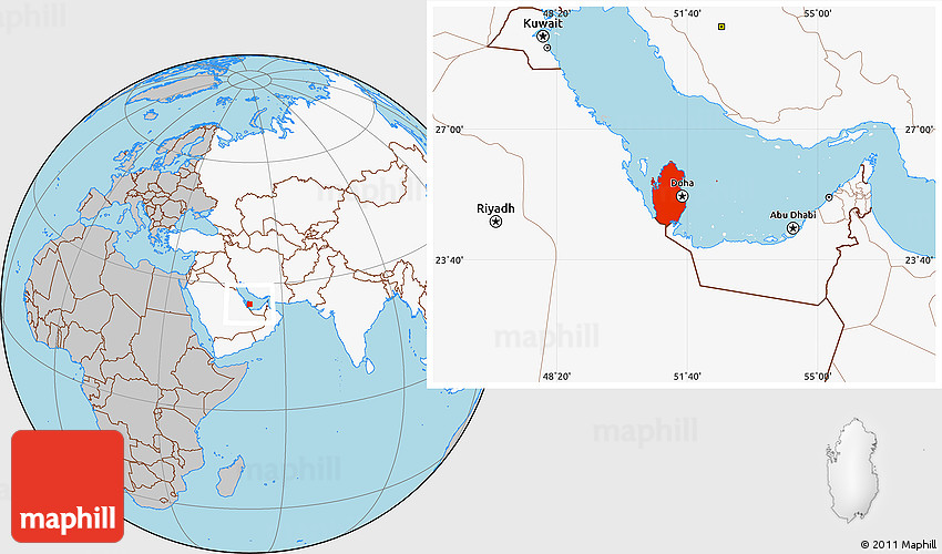 Gray location map of qatar highlighted continent 2d sciox Image collections