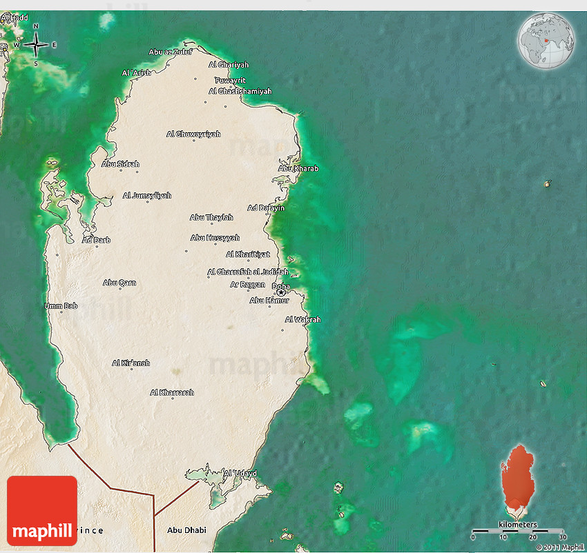 Satellite 3D Map of Qatar on