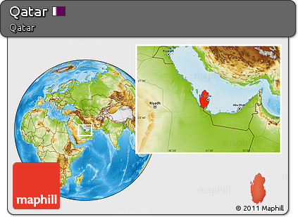 Free Physical Location Map of Qatar, within the entire country on