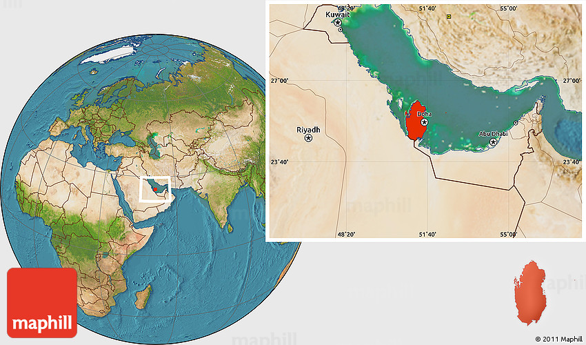 Where Qatar Is Located In World Map.Satellite Location Map Of Qatar Highlighted Country