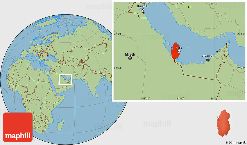 Savanna Style Location Map of Qatar, highlighted country on