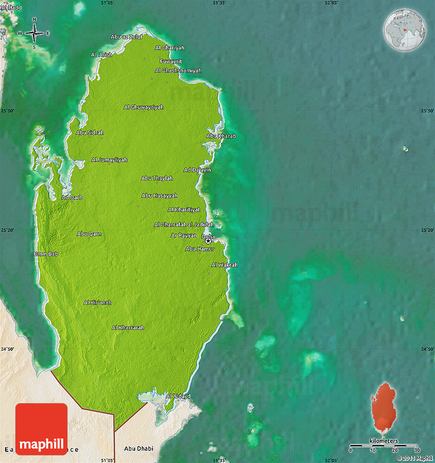 Physical map of qatar satellite outside 2d publicscrutiny Images