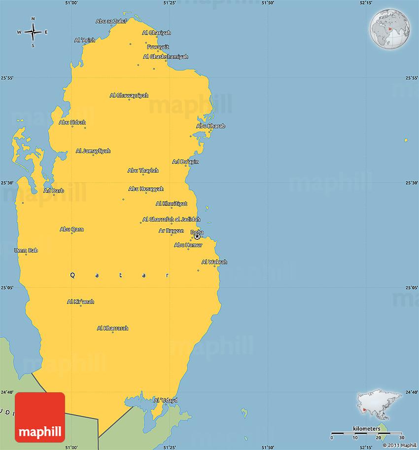 Savanna Style Simple Map Of Qatar - Qatar map