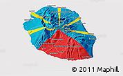 Flag 3D Map of Reunion