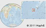Physical Location Map of Reunion, lighten