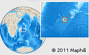 Physical Location Map of Reunion, shaded relief outside