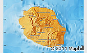 Political Shades Map of Reunion, shaded relief outside, bathymetry sea