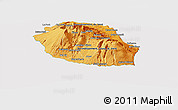 Political Shades Panoramic Map of Reunion, cropped outside