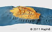 Political Shades Panoramic Map of Reunion, darken
