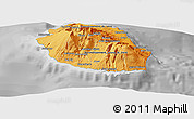 Political Shades Panoramic Map of Reunion, desaturated