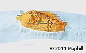 Political Shades Panoramic Map of Reunion, lighten